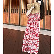 Mujer Corte Swing Vestido Noche Floral Escote Barco Maxi Manga Corta Otro Verano Tiro Medio Microelástico Fino