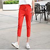 Mujer Sencillo Tiro Alto Microelástico Chinos Pantalones de Deporte Pantalones,Pitillo Un Color