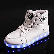 Hombre Zapatillas de deporte Confort Innovador Zapatos con luz Otoño Invierno PU Casual Con Cordón Tacón Plano Blanco Negro Plano