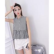 Mujer Simple Casual/Diario Camisa,Escote Chino Cuadrícula Sin Mangas Algodón