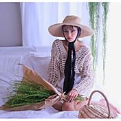 Mujer Regular Cardigan Casual/Diario Un Color Escote en Pico Manga Larga Lino Primavera Verano Fino Rígido