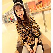 Mujer Sudadera Noche Casual/Diario Leopardo Escote Redondo Inelástica Algodón Manga Larga Primavera Otoño