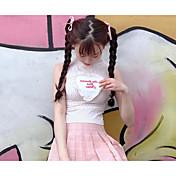 Mujer Simple Casual/Diario Tank Tops,Cuello Alto A Lunares Sin Mangas Algodón