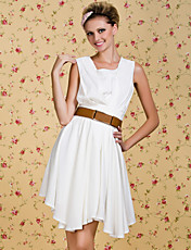 TS VINTAGE V Neck Sleeveless Gather Dress