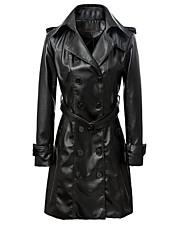 Dames Vintage / Street chic / Punk & Gothic Winter Leren jacks,Uitgaan / Casual/Dagelijks / Werk Ingesneden revers-Lange mouw Zwart Effen