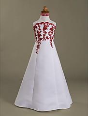 A-Linie Princess Na zem Šaty pro květinovou družičku - Satén Špagetová ramínka Nabraný s Aplikace Korálky