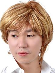 capless krátké kvalitní syntetický blond rovné vlasy muži paruka 0463-460