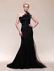 TS Couture Formální večer Šaty - Retro inspirované Styl celebrit Mořská panna Jedno rameno Dlouhá vlečka Tyl s Volánky Boční řasení