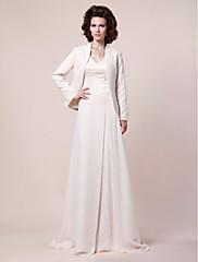 Lanting Bride® A-Linie Větší velikosti / Malé Šaty pro matku nevěsty - Včetně bolerka Dlouhá vlečka Dlouhý rukáv Šifón / Satén - Korálky