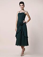 Lanting Bride® A-Linie Větší velikosti / Malé Šaty pro matku nevěsty K lýtkům Bez rukávů Šifón - Květina(y) / Boční řasení