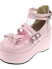 Boty Sweet Lolita Princeznovské Platforma Boty Mašle 7 CM Černá Růžová Pro PU kůže/Polyurethanová kůže Polyurethanová kůže
