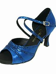 Non Přizpůsobitelné - Dámské - Taneční boty - Latina / Taneční sál - Třpitivé flitry / Satén - Jehlový podpatek - Zlatá / Modrá
