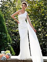 LAN TING BRIDE Mořská panna Svatební šaty - Klasické & nadčasové Krajka Dlouhá vlečka Jedno rameno Krajka s Květiny