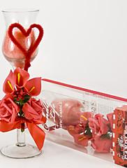 Červená růže a kala sklo svícny