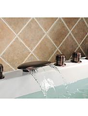 アンティーク調 ローマンバスタブ 滝状吐水タイプ / ワイドspary / ハンドシャワーは含まれている with  セラミックバルブ 二つのハンドル5つの穴 for  オイルブロンズ , 浴槽用水栓