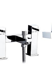 dvojité rukojeti most centerset mosazi vana baterie s ruční sprchou - chrom