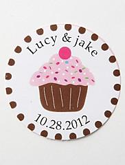 personalizované kulaté přízeň nálepky - růžový dort (sada 36)