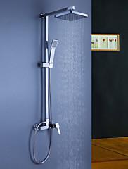 Současné Sprchový systém Dešťová sprcha / Včetne sprchové hlavice with  Keramický ventil Single Handle tři otvory for  Pochromovaný ,