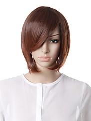 キャップレスファッション短い茶色の巻き毛の側面の毛のかつら
