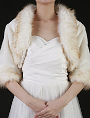 ゴージャスなフェイクファーのハーフスリーブの結婚式/特別な機会のコート/ジャケット/ラップ