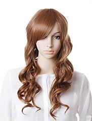 キャップレス、高品質自然な外観茶色の長いウェーブヘアのかつら