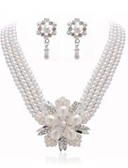 Magnifique parure de biojoux en perles nacrées et strass