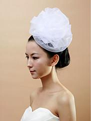 Svatební bílé tyl dámské květinové přilby