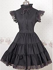 bez rukávů kolena high-límec černý bavlněný gothic lolita šaty