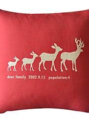 鹿の家族コットン/リネン装飾的な枕カバー