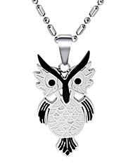 Módní pánské titanové sova náhrdelník