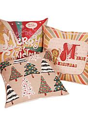 set od 3 čestit Božić pamuka / lana dekorativni jastuk naslovnici 1