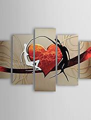 Ručně malované Abstraktní Lidé Jakýkoliv Shape,Moderní Tradiční Pět panelů Hang-malované olejomalba For Home dekorace