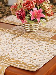 4国ジャガードポリエステル綿混紡のセットマルチカラーの花ランチョン