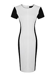 ファッションコレクションOLスタイルコントラスト色ジャージーワンピース