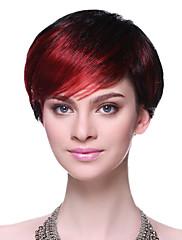 キャップレス高品質な合成ミックスカラーショートストレートヘアウィッグ