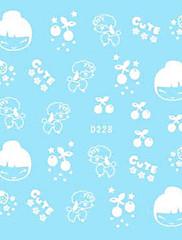 5ks Vodní transferový tisk bílé nehty Samolepky Cute Cartoon
