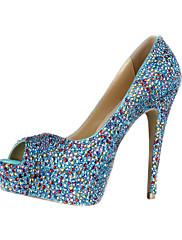 Úžasné kožené Stiletto Heel Peep Toe s barevnými boty Rhinestone Svatební / strana
