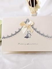非個人化 トップ折り 結婚式の招待状 招待状カード-50 ピース/セット クラシック パール紙 18.4cm*12.8cm ボウ