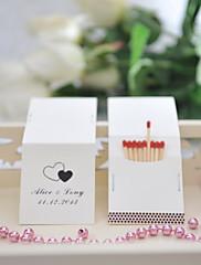 decoración de la boda cajas de fósforos personalizados - corazones dobles (juego de 50)