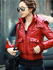 毛皮の襟付きLEWEN赤カジュアルショートコート