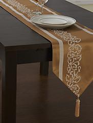 ジャガード花クラシックポリエステル綿混紡のテーブルランナー