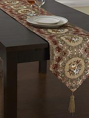従来のポリエステル綿混紡ジャカード赤い花のテーブルランナー