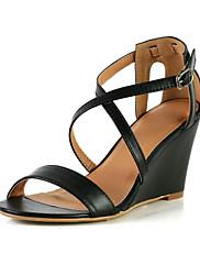 Koženka Sandály Wedge paty boty s Buckle volný čas (více barev)