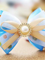 Čerstvé Wave Hrnce vzor modrá organza 10,6 cm Bow Sladká Lolita lamely s Pearl Button