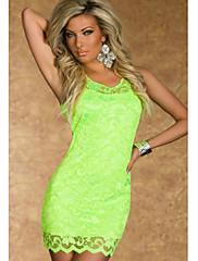 Fluorescent Yellow Lace Tank Bodycon šaty