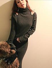 dámské žebrová pletenina maxi šaty s vysokým krkem