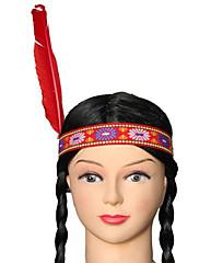 インドのブラックロング三つ編み三つ編み赤い羽根ハロウィーンウィッグ