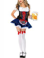 ビールガールダークブルーのドレスの女性のコスチューム