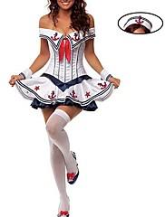 Cosplay Kostýmy Kostým na Večírek Voják/Bojovník Námořnické Kariéra kostýmy Festival/Svátek Halloweenské kostýmyČervená Bílá Inkoustová