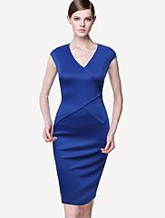 Cap-Sleeve V Neck dámské Midi šaty